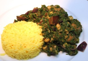 Spinazie-aubergine curry - bord