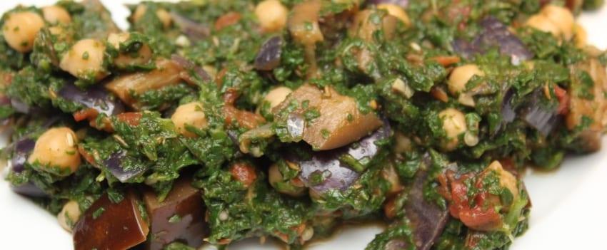 Spinazie-aubergine curry - breed