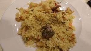 Uit eten in Spanje - Bilbao - rijst met schelpen en inktvis
