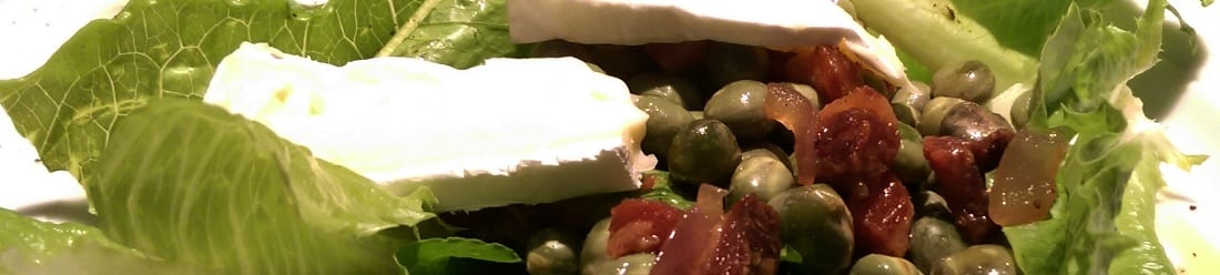 Salade van kapucijners spek en brie - breed