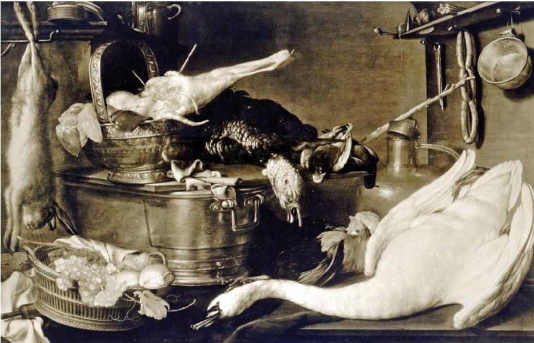 Cornelis Jaconbsz Delff (1570 - 1643) Keukentafereel met kalkoen en zwaan