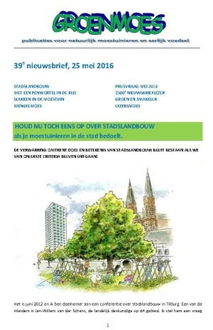 Stadslandbouw - Groenmoes Nieuwsbrief Mei 2016 - cover