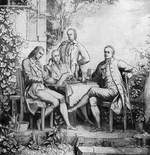 vlnr: Schiller, Wilhelm, Alexander en Goethe